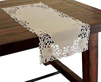 Xia Home Fashions Scrolling Rose Embroidered Cutwork Floral Table Runner,  16 By 34 Inch