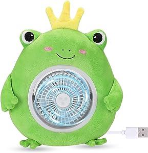 EDLDECCO Portable Fan USB Rechargeable Personal Fan Cute Stuffed Crab Frog Fan for Home Office Travel Kids Gifts 3 Speeds 45°Adjustable Head Desk Table Small Cooling Fan