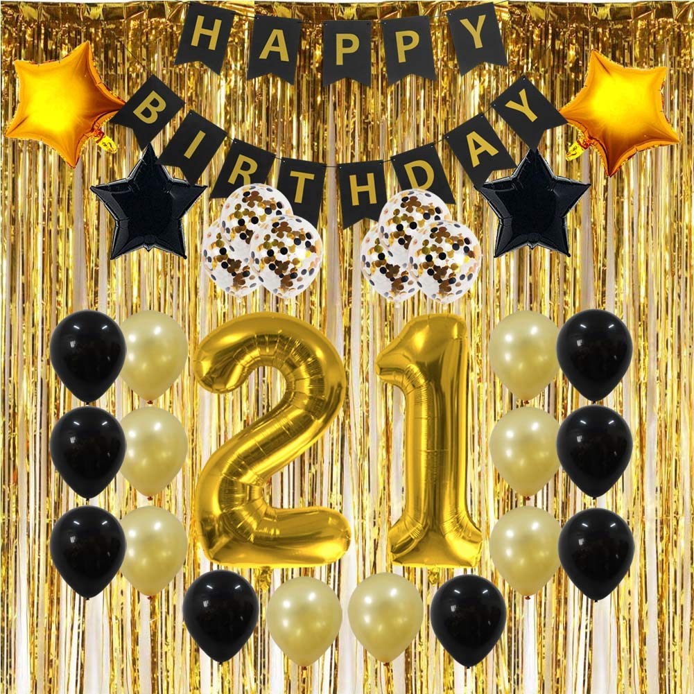 21st Birthday Decorations Gifts For Her Him Men Women 21 Birthday Party Supplies Happy Birthday Banner Gold Foil Fringe Curtains 21 Gold Number Balloons And Confetti Balloons Amazon In Health Personal Care