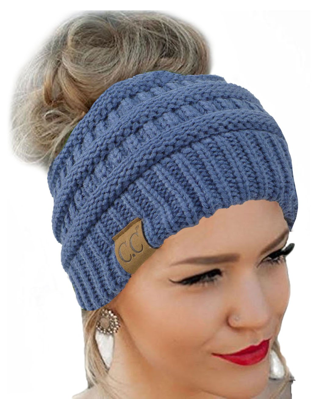 Messy Bun Hat Beanie CC Quality Knit (Dark Denim)