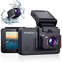 """Kingslim D4 4K Dual Dash Cam with Built-in Wi-Fi GPS, Front 4K/2.5K Rear 1080P Dual Dash Camera for Cars, 3"""" IPS…"""
