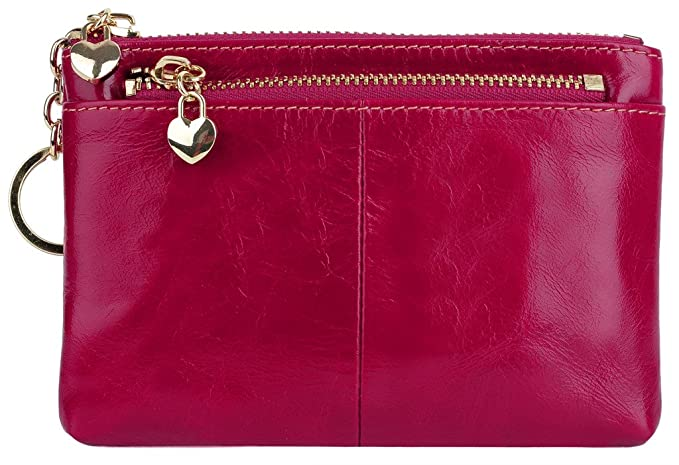d67edccdc1 YALUXE Women s Small Mini Size Triple Zipper Leather Coin Wallet Card  Holder with Keyring Dark Pink