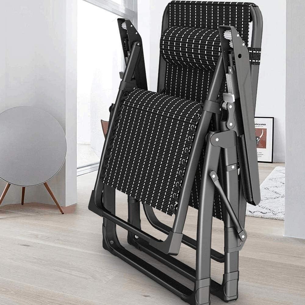 PARTAS Sunbathing Daze Outdoor Recliner Folding Chair Old Man Back Chair Balcony Home Leisure Portable Folding Chair Four Seasons Universal Folding Chair. (Color : Black) Black