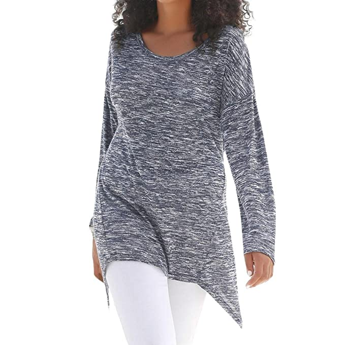 Yvelands Camiseta de Mujer con Mangas largas y Elegantes con Cuello en V, Jersey Suelto