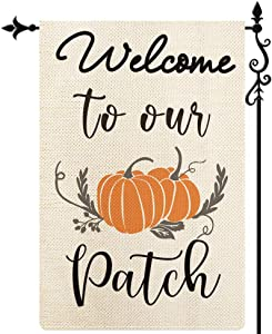 Coskaka Welcome to Our Patch Garden Flag,Pumpkin Flag Fall Harvest Vertical Double Sided Rustic Farmland Burlap Yard Lawn Outdoor Decor 12.5x18 Inch