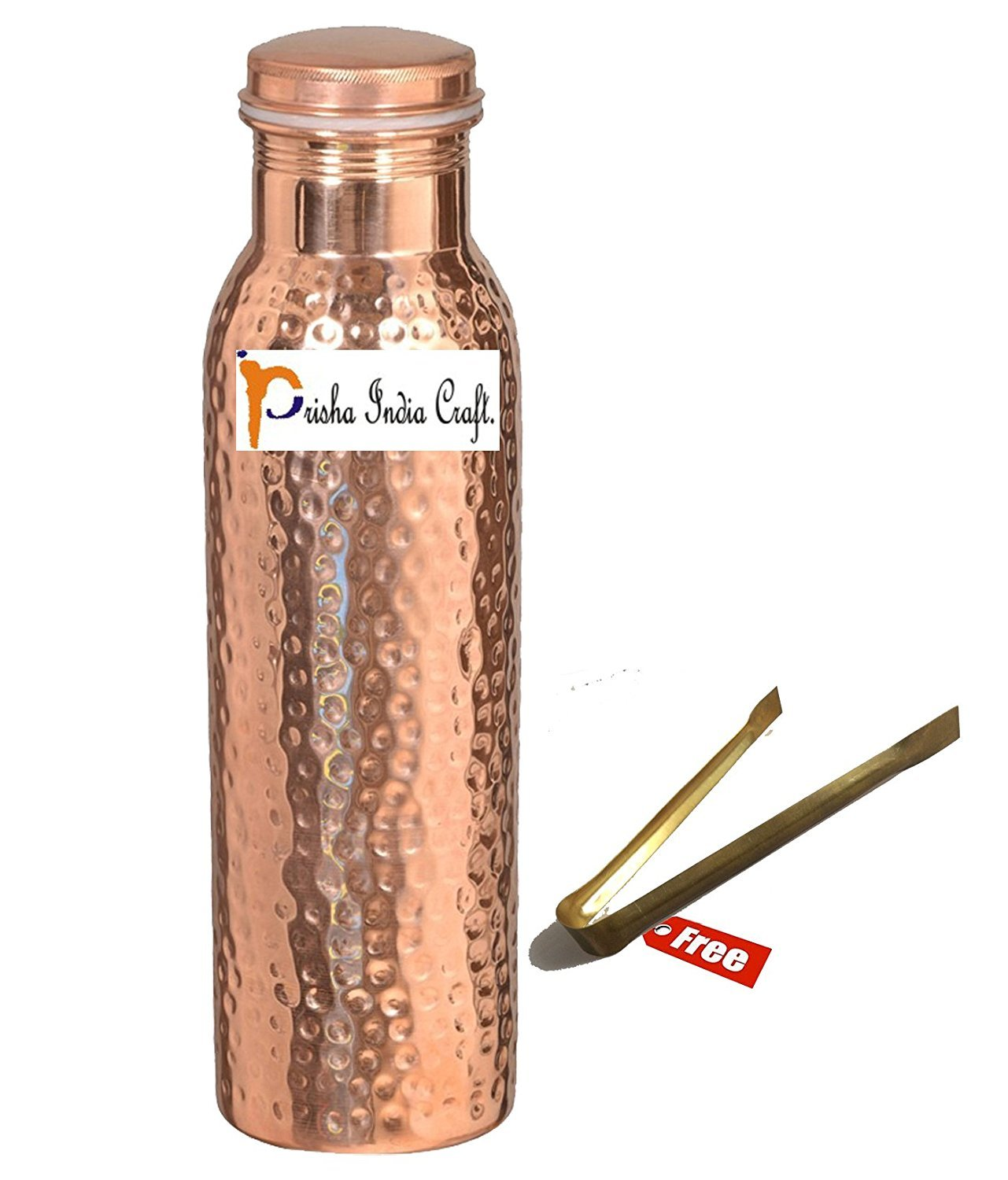 900ml / 30oz – Prisha India Craft Pure Copper Water Bottle Ayurveda Health Benefits - FREE BRASS ICE TONGS with WOODEN KEYRING Water Bottles Joint Free, Christmas Gift