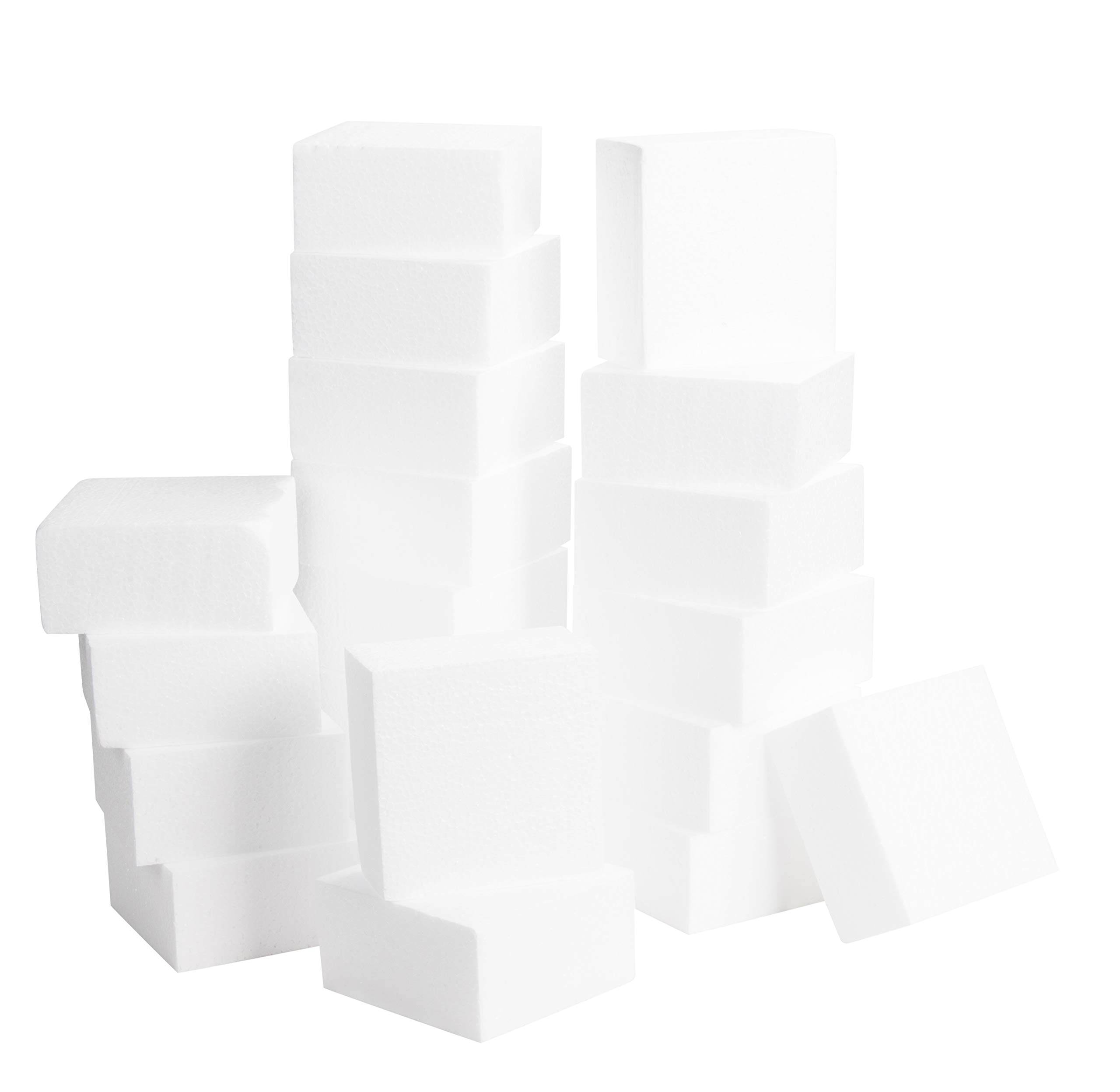 Craft Foam Block - 20-Pack Polystyrene Foam Square, Smooth Craft Bricks, Rectangle Faoms, for Sculpture, Modeling, DIY Arts and Crafts, Kids Class, Floral Arrangement, 4 x 4 x 2 Inches