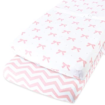 225 & Cuddly Cubs Diaper Changing Table Pad Cover Set for Baby Girl | Soft \u0026 Breathable 100% Jersey Cotton |...