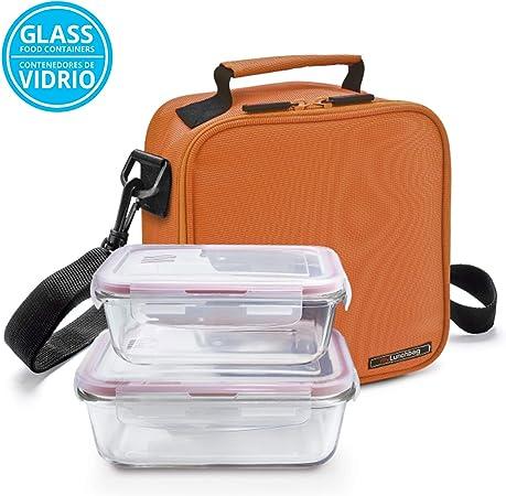 0.84L y Cubiertos AISI 430 Niquel Free Bolsa T/érmica Lunchbag Basic con 2 Contenedores de Vidrio de 0.57L Glassfood Gris