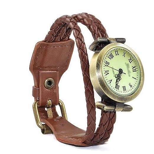 Gleader Reloj de Pulsera Cuarzo Estilo Antiguo para Chica Mujer - Cafe: Amazon.es: Relojes