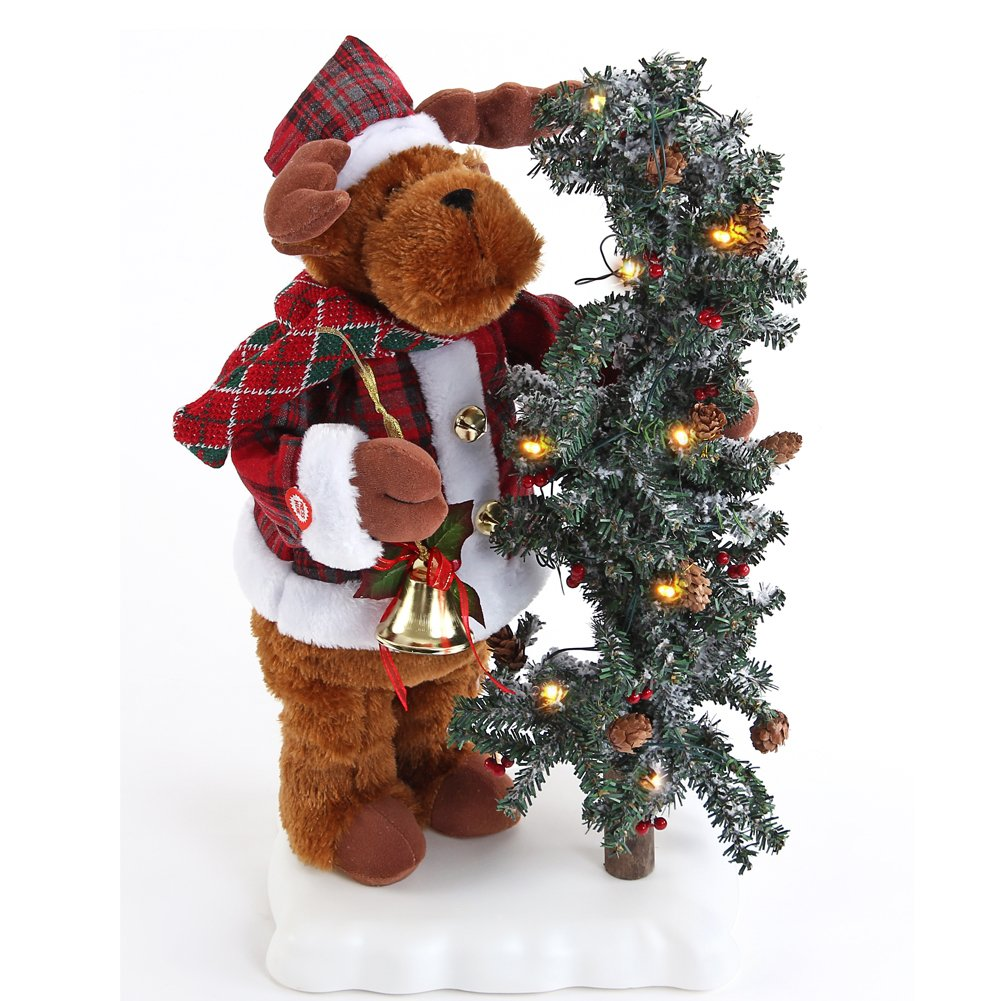 Seatopia Elk Holding Tree with Lights Melodic Music Dance Moving Body Christmas Decoration Distinctive Ornament