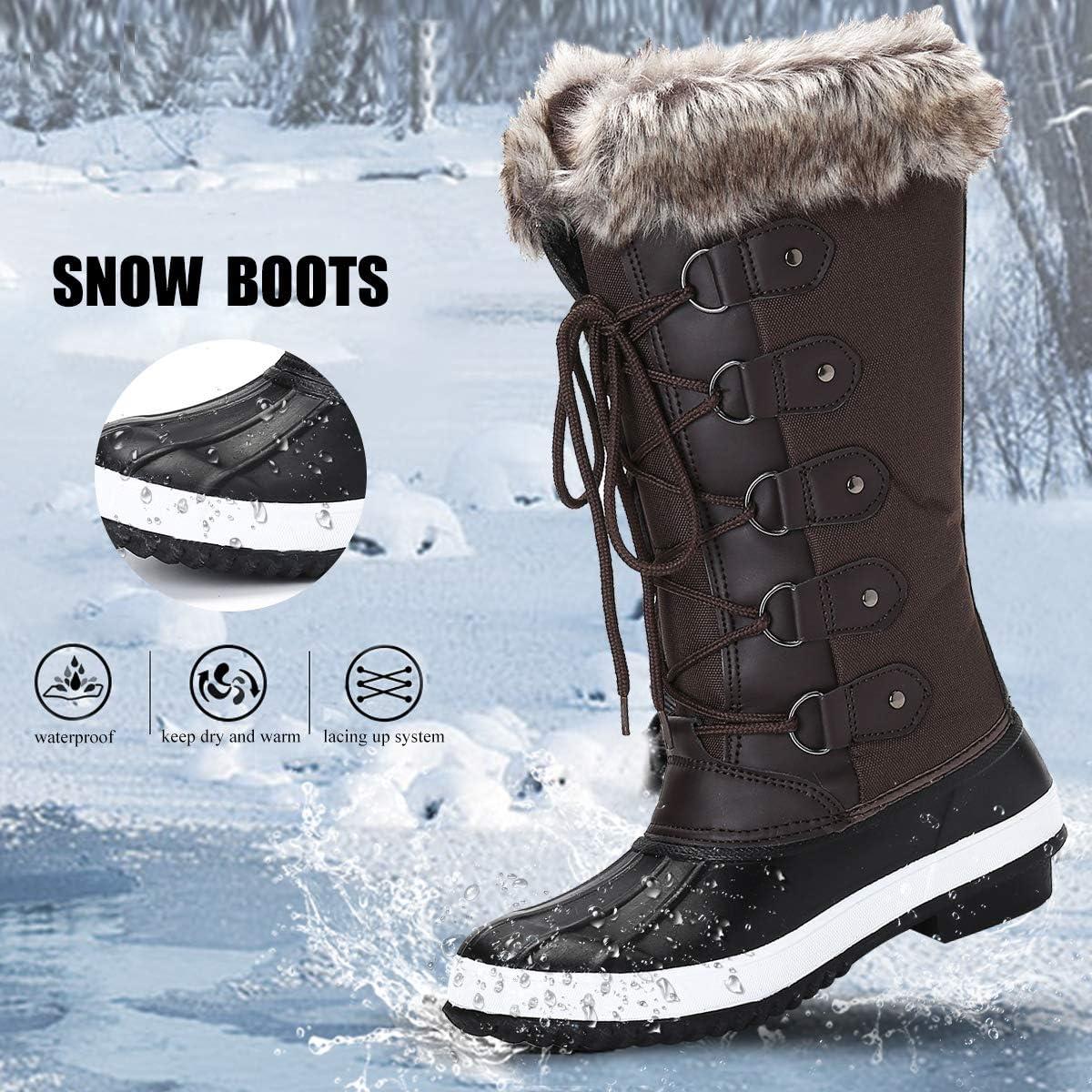 Camfosy Bottes de Neige Hiver Femmes, Bottines de Pluie imperméable Fourrure Chaussures Après Ski Fourrée Chaude pour Filles Randonnée Marche