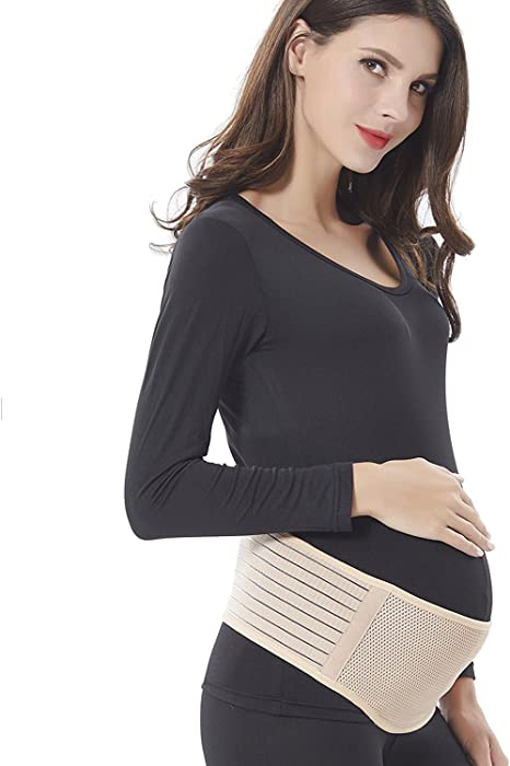 Comfortable Belly Band for Pregnancy One Size,Nude Color Maternity Belt Babo Care Breathable Lower Back and Pelvic Support Prenatal Cradle for Baby
