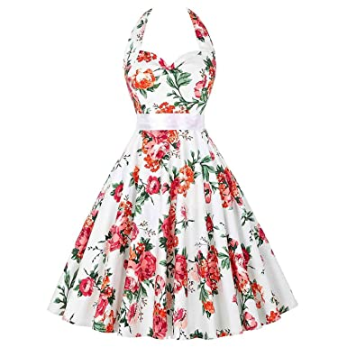 Dress Retro 50s 60s Vintage Dresses Vestidos Sexy V-Neck Sleeveless Belted Pinup Rockabilly,