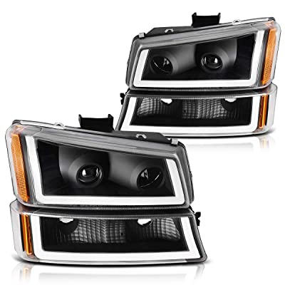 AUTOSAVER88 Projector Headlight Assembly kit Compatible with 2003 2004 2005 2006 Chevy Avalanche Silverado 1500/2500/3500,2007 Chevrolet Silverado Classic,Black Housing and Amber Reflector: Automotive