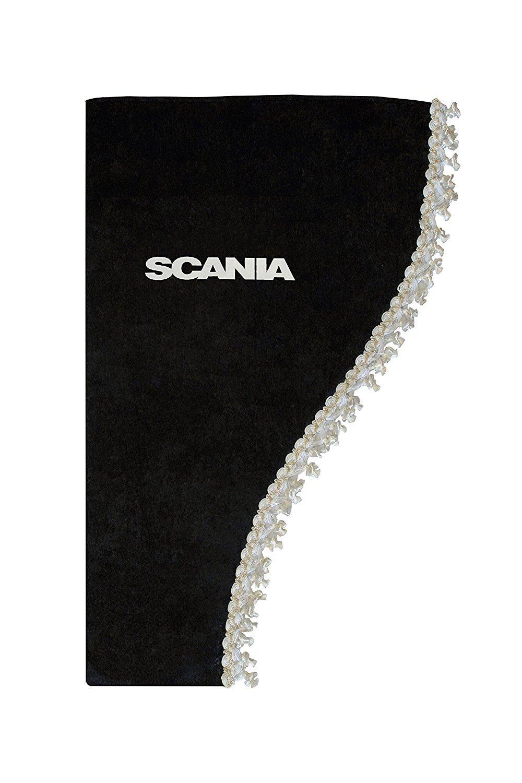 Juego de 2 cortinas laterales para ventana sat/én, borlas blancas, para Scania S R P L G Series trucks HGV Lorry, color negro AutoCommerse