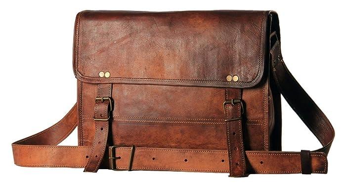 61afd1b7cfb58 Umhängetasche Leder Laptoptasche Unitasche Ledertasche Herren Damen 13 Zoll  Vintage Look Braun