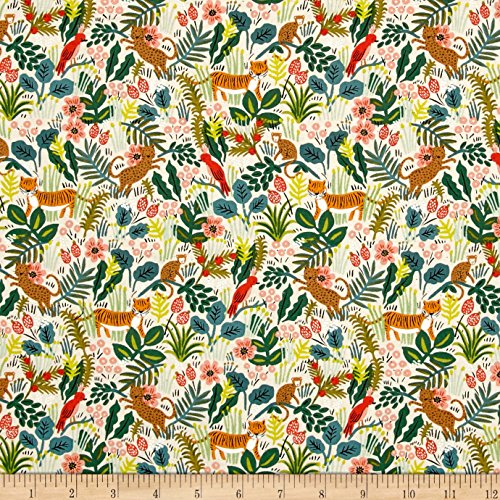 Cotton + Steel Rifle Paper Co. Menagerie Jungle Natural Fabric by The Yard