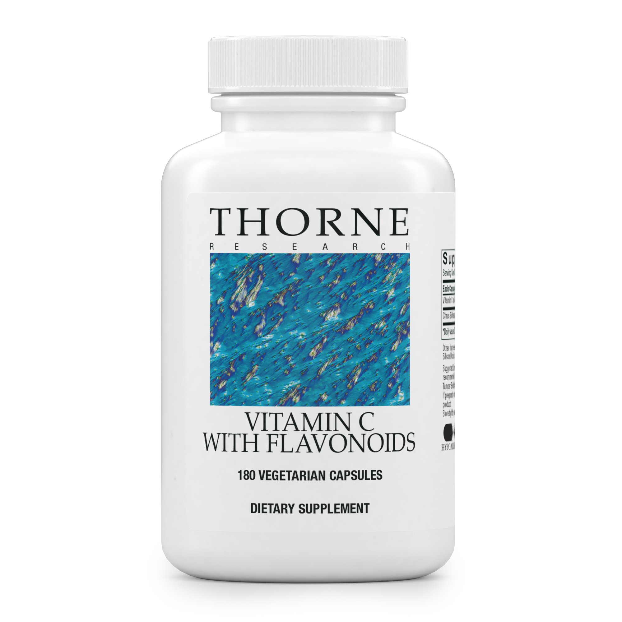 Thorne Research - Vitamin C with Flavonoids - Blend of Vitamin C and Citrus Bioflavonoids from Oranges, the Way They're Found Together in Nature - 180 Capsules