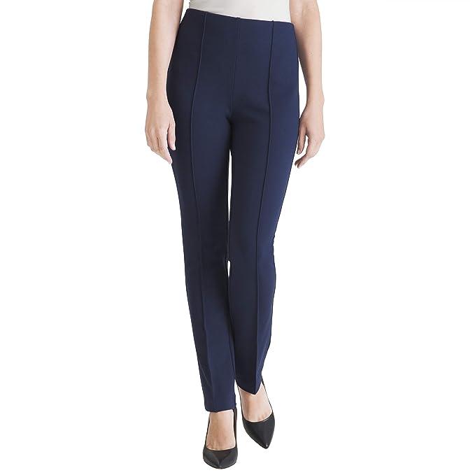 60s – 70s Pants, Jeans, Hippie, Bell Bottoms, Jumpsuits Chicos Women's Petite So Slimming Juliet Full Length Straight Leg Ponte Solid Pants  AT vintagedancer.com