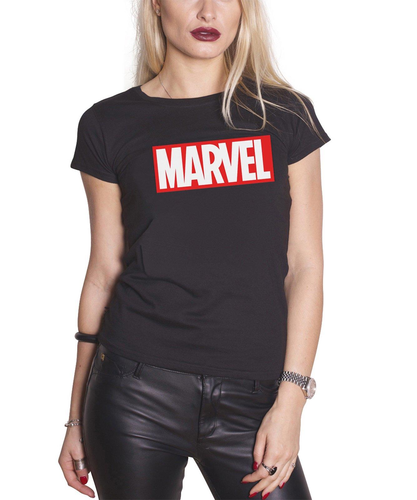 Marvel Comics T Shirt Classic Logo Black