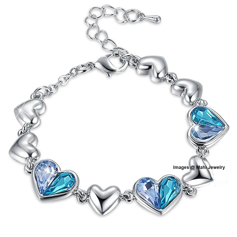 Valentine Gift By Oviya Big Girls Blue Heart Crystal Adjustable Bracelet