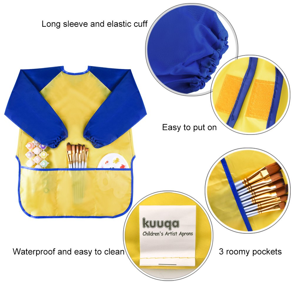 Paints and Brushes not Included KUUQA Waterproof Children Art Smock Kids Art Aprons with 3 Roomy Pockets,Painting Supplies