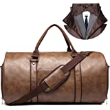 Carry on Garment Bags for Travel Leather Garment Duffle Bag Convertible Mens Suit Travel Bags with Shoe Compartment…