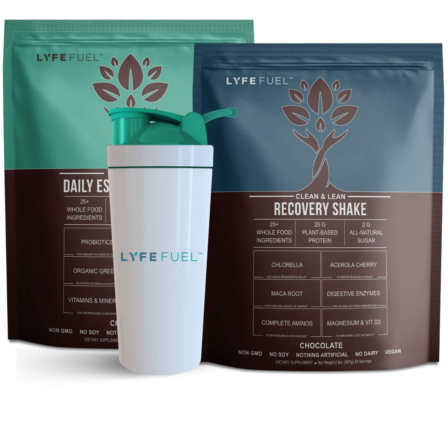 LYFE FUEL Meal Replacement + Post Workout Recovery Shake Bundle | Keto, Vegan & Gluten Free Plant Based Protein | Chocolate + Chocolate | Made with Superfoods + Organic Greens | 48 Servings