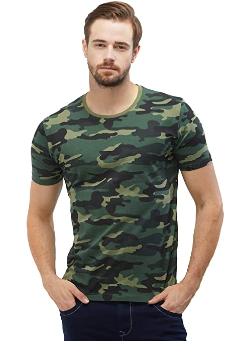 WYO Wear Your Opinion Men's Cotton Camouflage Half Sleeve T-Shirt T-Shirts at amazon
