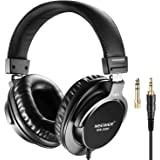 Neewer Studio Monitor Headphones, Rotatable Headsets with 45mm Loudhailer Driver, 6.35mm Plug Adapter for PC, Cell Phones, TV
