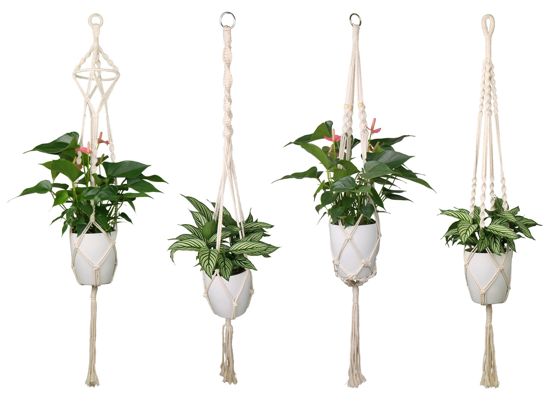 Luxbon 4Pcs Macrame Plant Hanger Handmade Woven Cotton Plant Holder Wall Hanging Planter Basket for Indoor Outdoor Garden Patio Balcony Ceiling Decorations, 4 Legs 40 Inch