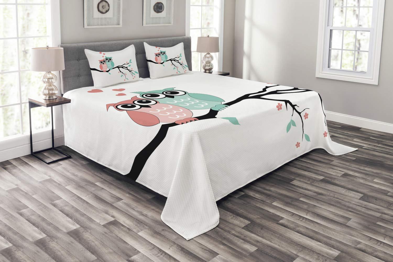 Abakuhaus Teal und Weiß Tagesdecke Set, Nette Eulen-Paare, Set mit Kissenbezügen Waschbar, für Doppelbetten 220 x 220 cm, Türkisfarbene Korallen schwarz