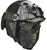 Jadedragon PJ Tactical Fast Helmet & Protect ear Foldable Double straps Half Face Mesh Mask & Goggle
