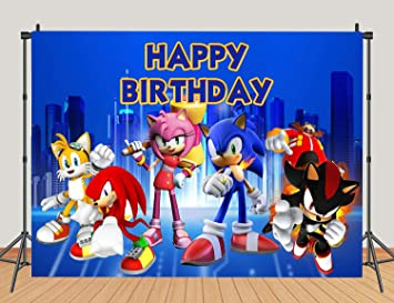 Amazon Com 5x3ft Blue Sonic Boom Happy Birthday Photo Backdrops Sonic The Hedgehog Baby Shower 1st Decoration Photography Backdrops Kids Super City Studio Booth Camera Photo