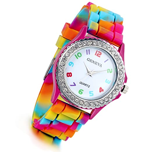 16e78ef597ca9 Lancardo Rhinestone Rainbow Color Silicon Jelly Fun Play Watches for Women  - Rose Red