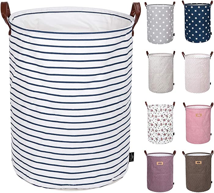 DOKEHOM 19-Inches Thickened Large Drawstring Laundry Basket Storage -(Available 19 and 22 Inches in 9 Colors)- with Durable Leather Handle, Cotton (Blue Strips, L)