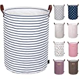 DOKEHOM 22-Inches Thickened X-Large Laundry Basket -(9 Colors)- with Durable Leather Handle, Drawstring Waterproof Round Cotton Linen Collapsible Storage Basket (Blue Strips, XL)