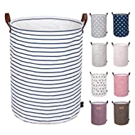 DOKEHOM 19-Inches Thickened Large Laundry Basket -(9 Colors) with Durable Leather Handle, Drawstring Waterproof Round Cotton Linen Collapsible Storage Basket (Blue Strips, L)