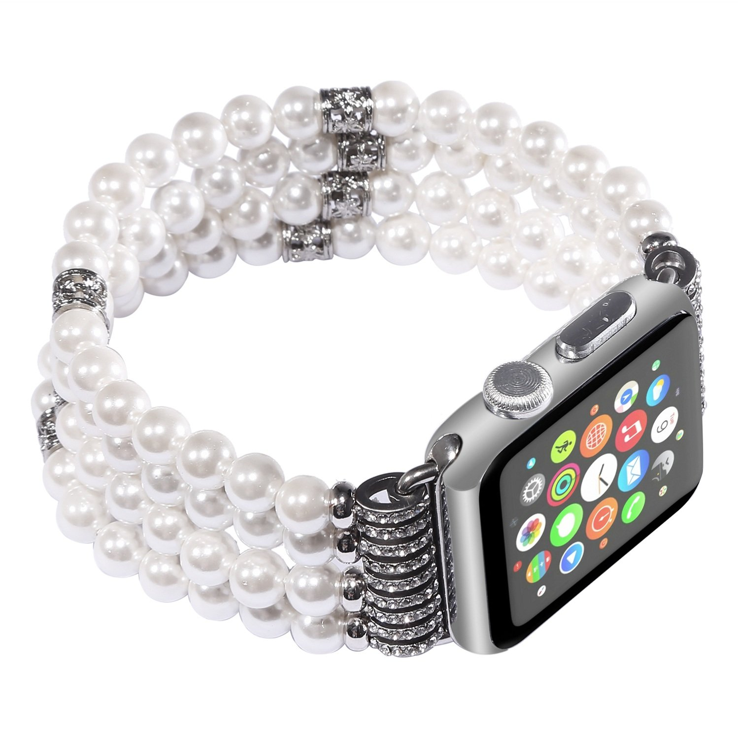 Juzzhou Band For Apple Watch iWatch Series 1/2/3 Replacement Bracelet Handmade Beaded Faux Pearl Natural Bling Stone Crystal Agate Jewels Elastic Stretch Wrist Strap Wristband Wriststrap White 38mm