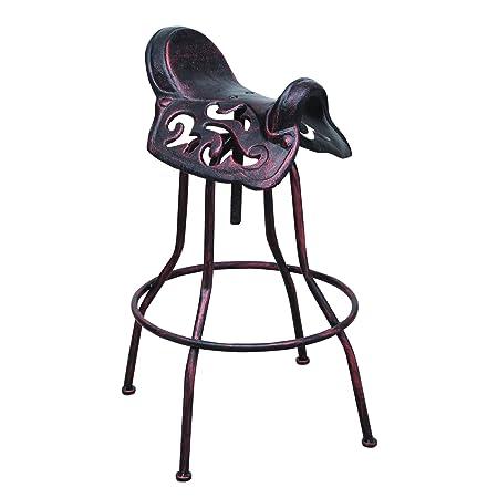 Adeco Adjustable Bar Stool with Saddle Like Seat – Antique Bronze