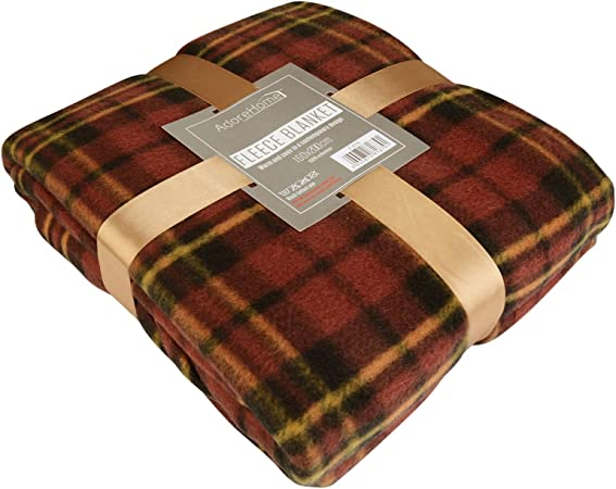 Tartan Checked Large Fleece Warm Soft Blanket Sofa Bed Travel Car Throws UK Good