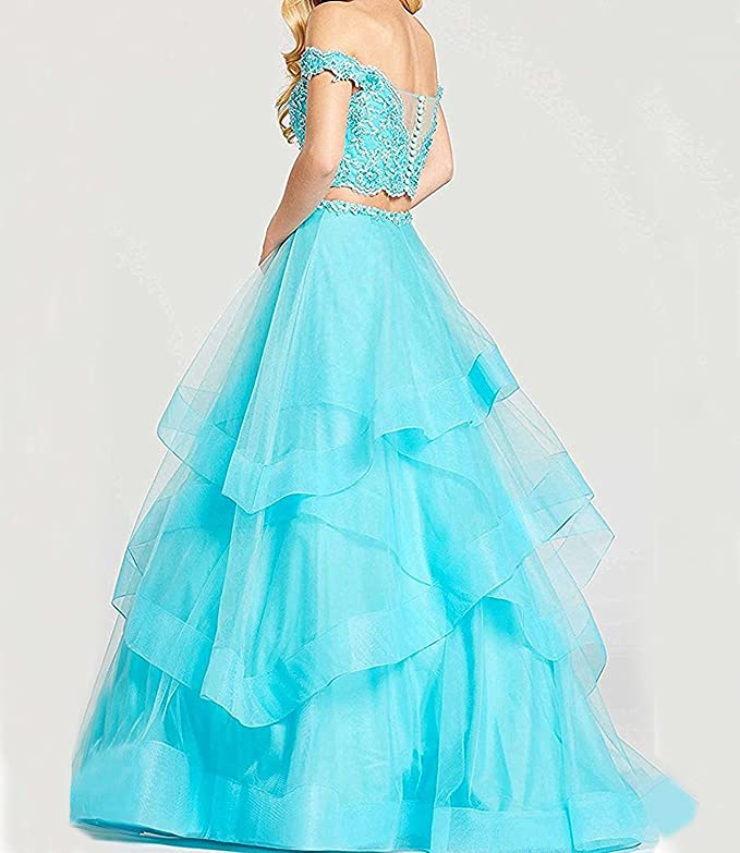 366b684e9c Alanre Women s Ruffle Tulle Beads Lace Prom Quinceanera Dress Two Pieces  Party Ball Gown at Amazon Women s Clothing store