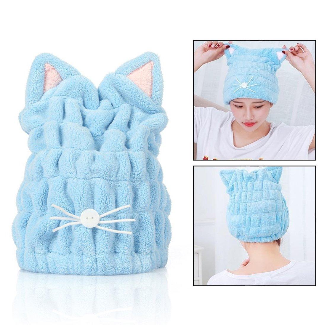 OFKPO Adjustable Microfiber Cute Cartoon Cat Hair Quick Drying Bath Cap,Ultra-Soft Hair Wrap,Bath Hair Hat, Reduce Hair Drying Time for Anyone.(Blue)