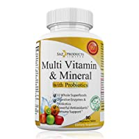 Whole Food MultiVitamin & Mineral Plus Probiotic Enzymes – Increased Energy, Combats Fatigue, Eliminates Brainfog & Easy on Digestion for Men & Women – Non-GMO – 90 Tablets