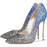 onlymaker Women Shiny Metal Metallic 12cm Thin High Heel Pointed Toe Stiletto Pumps Plus Big Size Shoes