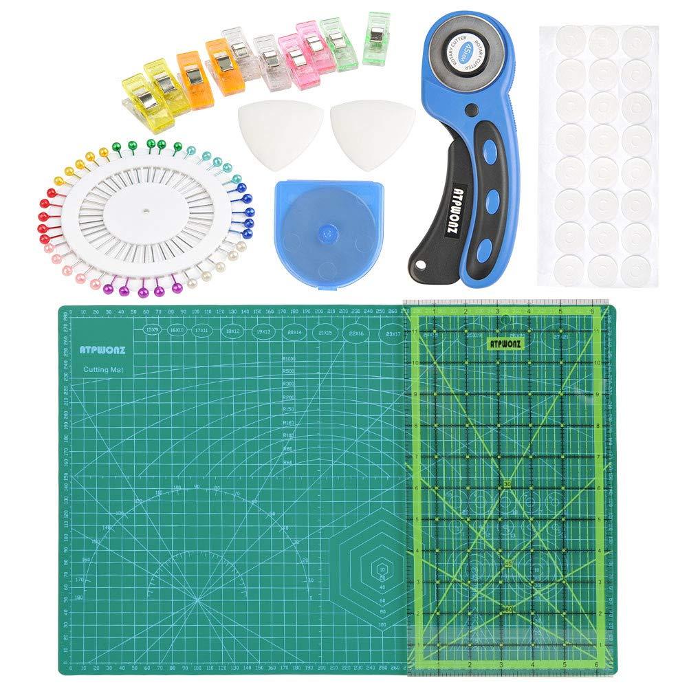 OFNMY 80 pezzi Kit con tappetino da taglio A3 + 45mm Rotary Cutter + 45mm Lama di ricambio + Righello Patchwork + Morsetto in plastica + Perni + Gesso su misura