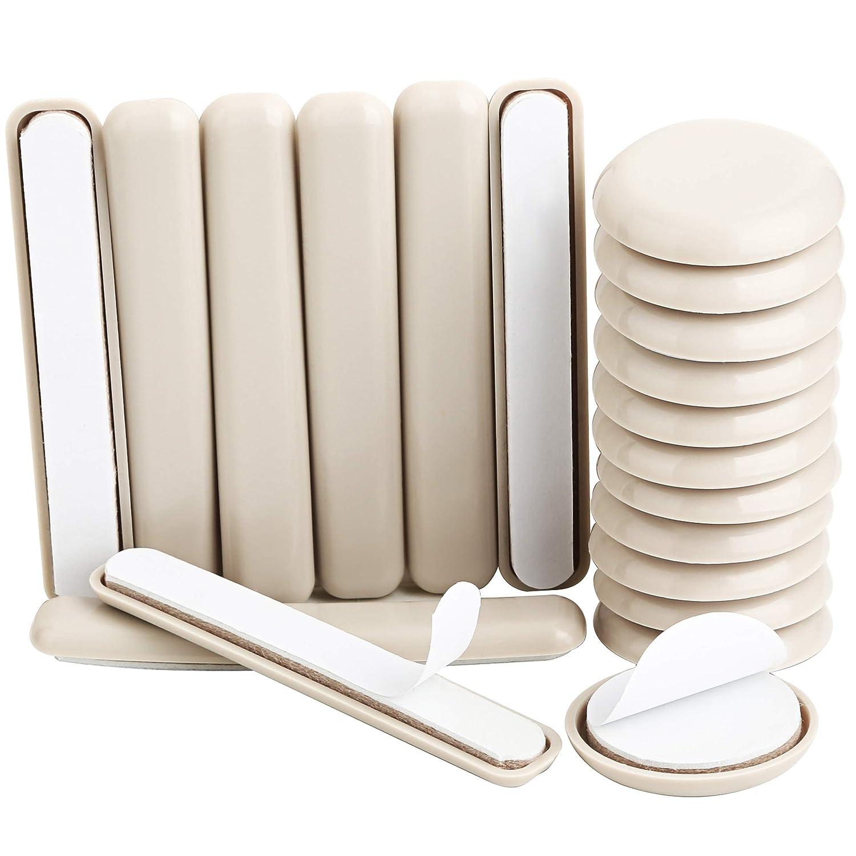 Lote de 20 deslizadores para muebles, de Liyic, para proteger alfombras y moquetas, redondos, para muebles, 12 unidades de 4,3 cm y 8 unidades de 1,3 cm x 10 cm LINKW