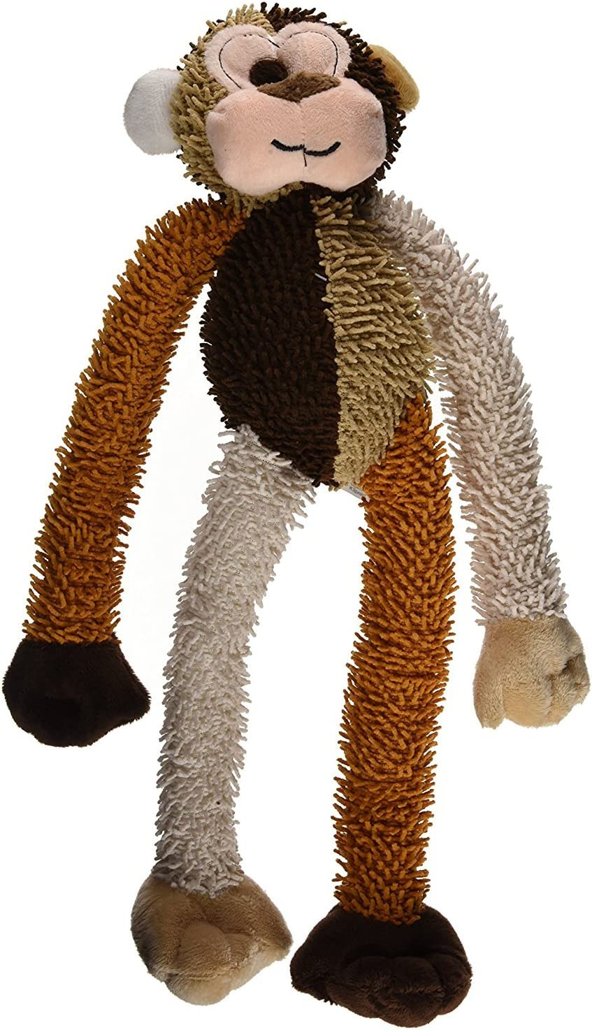 Multipet International DMP37812 Multicrew Monkey Plush Dog Toy, 17-Inch, Colors Vary