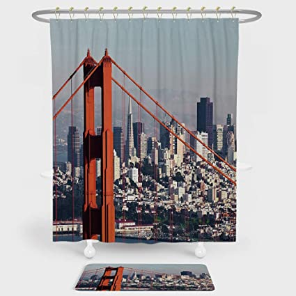 United States Shower Curtain And Floor Mat Combination Set San Francisco Bridge Cityscape Metropolis Financial